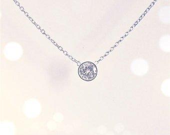Diamond Solitaire Necklace with Bezel Set 0.20 ct. natural diamond // 14k white or yellow gold // floating diamond necklace