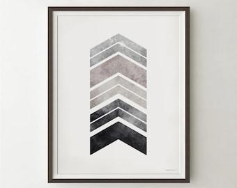 Gray art PRINTABLE wall art print, Bedroom decor, Gray chevron arrows art print, Geometric gray print Black and white print, Geometric art