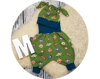 Baby pants, baby, Mitwachsen pants, Cap, node beanie baby set, newborn gift, harem trousers, harem trousers, pants, car, cars, cars, screwdrivers, cool