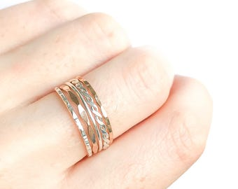 Sterling Silver and 14K Yellow Gold Thin Stacking Rings- set of 5, Gold Filled Stack Rings, Sterling Silver Rings