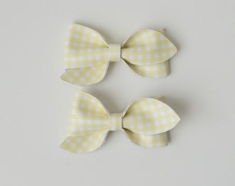 Yellow Gingham Pigtail Set