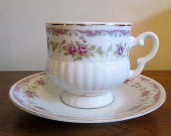 Vintage Inarco Japan Pink Roses Footed Teacup & Saucer