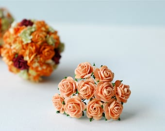 Small Paper Flower,100 pieces mulberry mini roses 1cm., orange solid color.