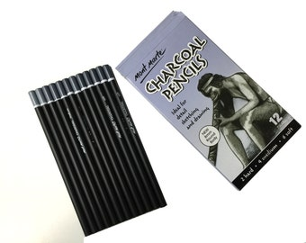 12-pieces Charcoal Pencils soft medium hard charcoal pencils (Set of 2)