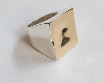 Carré or argent anneau Twotone, instruction, bague, bague Bohème, Chunky Ring, Boho bijoux, argent grand anneau - géométrique - R2263G