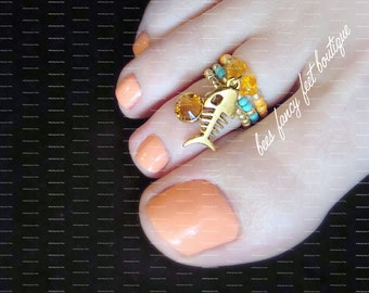 Stacking Toe Ring, Stacking Rings, Gold Fish Charm Ring, Amber Austrian Crystals, Stretch Bead Toe Ring