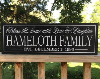 Family Gift, Custom name sign, personalized welcome sign, wood bless this home sign, Family Plaque, last name wood sign, hanging family sign