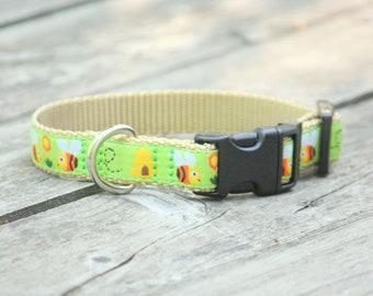 Honey Bee Jacquard Adjustable Dog Collar / X-Small, Small, Medium, Large, X-Large / Made in Japan