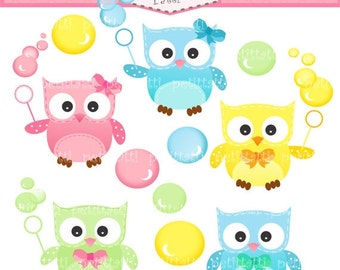 ON SALE Owls Bubbles Clip Art - Digital clip art -Owls and Bubble Clip Art, INSTANT Download, owl clip art