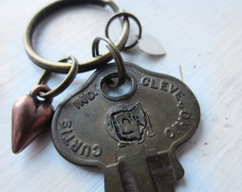 Ohio Keychain - Hand Stamped - Recycled Vintage Brass Key - State of Ohio - Souvenir