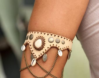 GYSPY BRACELETS • light bohemian gypsy festivals wild hippie leather chains shells ozora trance
