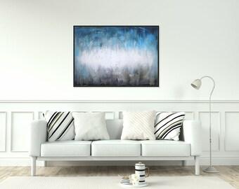 Neutral Painting Abstract Art/ Blue Wall Art Acrylic Painting/ Abstract Art On Canvas/ Original Painting Living Room Bedroom Art Christovart