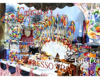 """Candy store window """"Confectionery"""" - Art Watercolor giclee 11x14 print - sweets, suckers, taffy, gumballs, reflection,  Catalina Island"""