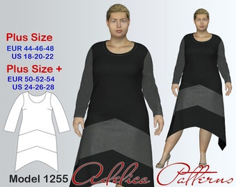 Plus size Dress Sewing Pattern PDF, Women's sizes 18-28, Geometric Dress PDF Instant Download Sewing Pattern, Dress Sewing Pattern