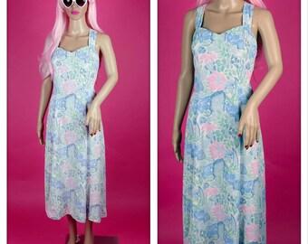 Vintage 1980s Pastel Floral Party Sweetheart Crisscross Sun Dress