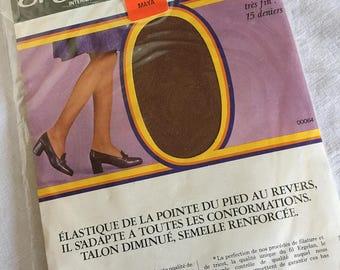 French vintage stockings, Vintage seamless nylon Stockings, Size 2, Medium, stretch, Vintage Hosiery,