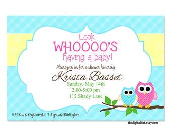 Owl Baby Shower Invitation | Etsy