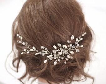 Bridal hairpiece Halo bridal headband Wedding hair vine Bridal headpiece Bridal hair accessories Crystal hair vine Pearl hair vine Tiara