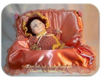Ooak Art Doll, Soft sculpture baby doll, Handmade Fabric Doll, Sweet Cloth Doll, Lovely Fabric Doll, Sleeping Baby Doll