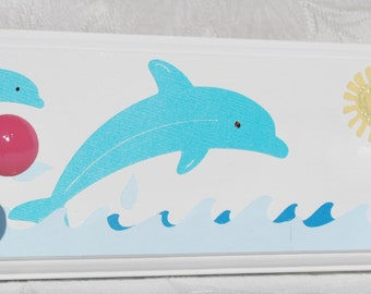 Kids Beach Towel Peg Rack . Summertime . Dolphin . Ocean . Rowan