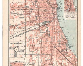 1905 - Original Chicago map, an original antique print from 1905, a lithography representing an antique map of Chicago.