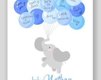 Baby Shower Guest book alternative,elephant guest book, custom baby shower guest book, printable guest book, Digital file, baby shower gift,