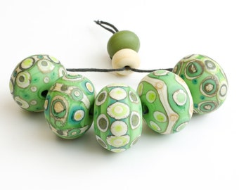 Handmade Lampwork Glass Bead Set Large Etched Green and Ivory Patterned Beads SRA UK