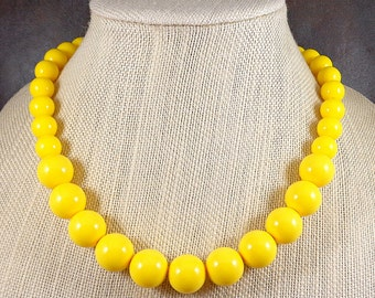 Statement Necklace, Yellow, Chunky Necklace, Gumball Necklace, Yellow Bead Necklace, Big Bead Necklace, Bright, Round Bead Necklace