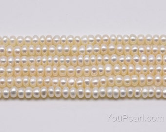 5-6mm freshwater pearls, real natural white button pearl beads, cultured pearl string wholesale, roundel shape loose pearl beads, FB300-WS