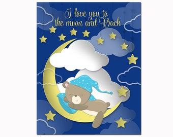 Teddy bear nursery art Moon wall decor kids room artwork bedroom decoration navy blue sky poster custom baby boy newborn toddler gift