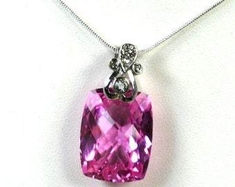 Womans Pink Topaz Chain Necklace Pink TOPAZ Gemstone Necklace FANCY Cut Gemstone Womans Pink Topaz Chain Pendant Gift Topaz Chain Necklace