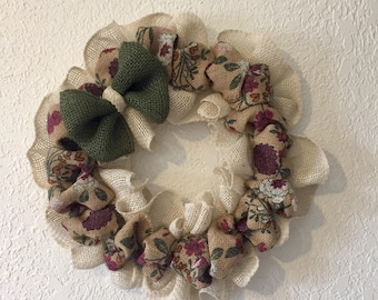 Spring Wreath, Burlap Wreath, Floral & Cream Burlap, w/a Grren Burlap Bow, Summer Wreath, Spring Wreaths for Front Door, 12 Inch