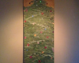 Christmas Tree -Lights- Oil Painting 40 x 16 inches canvas (Nature, Landscape)