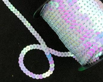 One (1) Yard of Aqua Blue  Iris 6mm Sequins  -- Buy 5 yds get 1 yd free