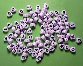 100 white letter heart acrylic beads 6.5 mm black