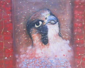 Red painting -Oil on paper-Oil Realistic on paper-Oil Painting-Bird painting-Super realistic painting-Original painting-Wall art on paper