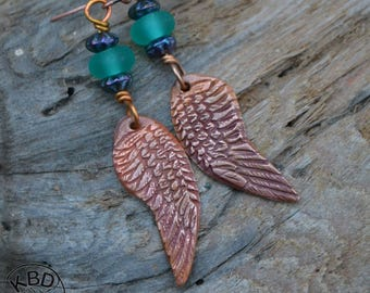 Copper Wings and Lampwork Bead Earrings