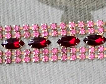Vintage 1950s Pink and Red Rhinestone Bracelet