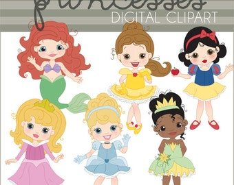 Princess Clipart -Personal and Limited Commercial- Cinderella, Belle, Little Mermaid, Snow White, Tiana, Sleeping Beauty Clip art