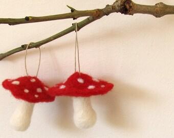 2 Felt toadstool ornaments, needle felted mushrooms, fall decor