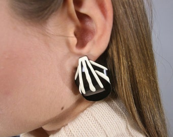 Oversized Abstract Earrings / 80's Sculptural Earrings / Bold Statement Earrings / Costume Jewelry / Fashion Earrings / Dangle Ear