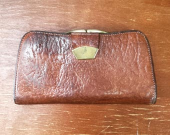 1970's All leather English wallet and change purse - dark tan