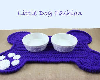 Feeding Mat for Dog, Dog Bone, Placemat for Dog, Unique Dog Gift, Dog Christmas Gift, Dog products, Snack mat for Dog, Crochet, Purple