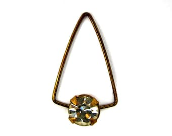 Vintage Tarnished Brass Triangle Drop Charms with a Swarovski Crystal Clear Stone (8X) (S530)