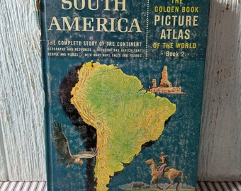 Livre d'or, photo Atlas of the World, livre pour enfants Vintage, Golden Press, droit d'auteur de 1960, l'Amérique du Sud
