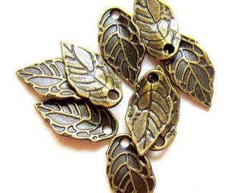 24 leaf charms bronze earring dangles charm bracelet drops jewelry making pendants bronze leaves 8mm x 16mm (CC3)