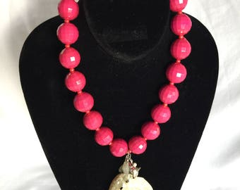 Tropical Hot Pink and Pearlized Abalone Shell Pendant Necklace with accents of Aquamarine, Pearl, Coral and Moonstone