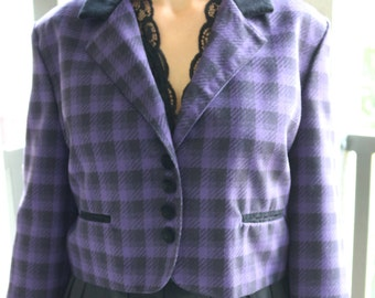 70's Daily Habit Purple and Black Short Plaid Blazer
