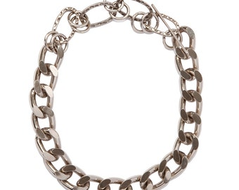 LUX  - Elegant Chunky Chain Choker - Bling Chain Choker Necklace w. Big Links - Silver