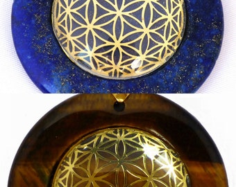 Global Flower of Life Circular Sacred Geometry Pendant